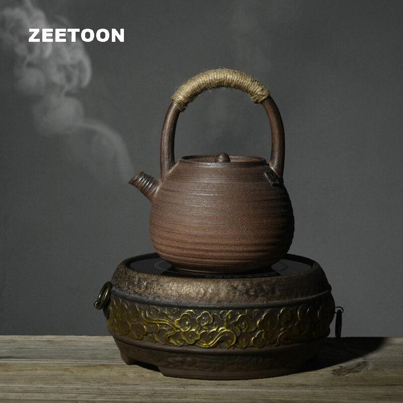 Service à thé Kung Fu Vintage 900ml   Poterie grossière de Style japonais, théière de haute capacité, cuisiner la théière bouilloire, ornement créatif pour la maison