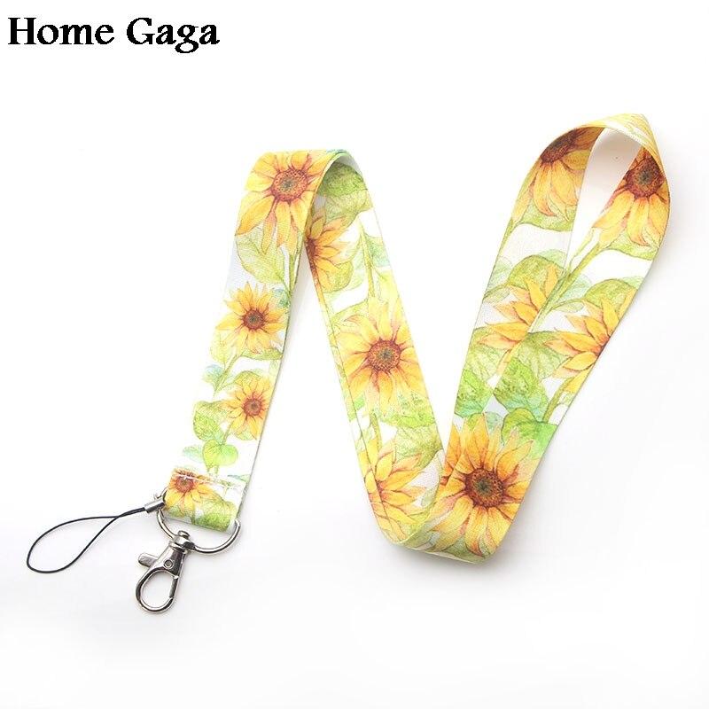 LLavero de girasoles Homegaga, cinta de cincha para el cuello, tela de correa para tarjeta de identificación, soporte para teléfono, accesorios para collar D1773