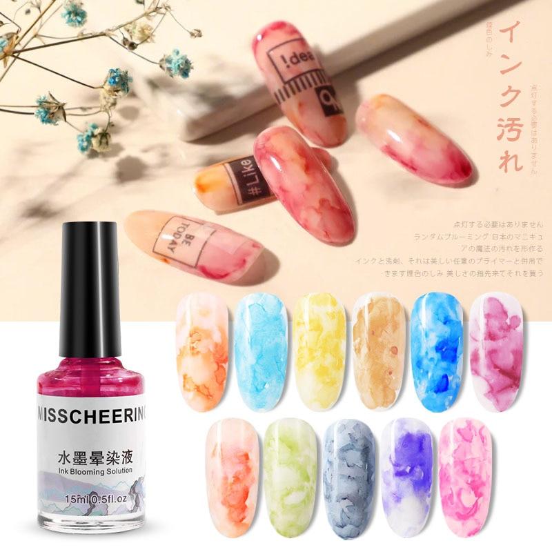 1 botella de 15ml de tinta de esmalte de uñas en Gel floreciente 12 colores efecto de humo difuminado burbuja DIY esmalte para manicura decoraciones
