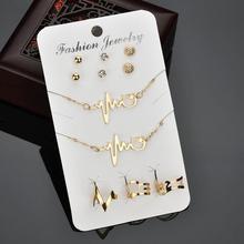 Punk mujeres colgante electrocardiograma collar pendientes anillo conjunto de joyas de pulseras
