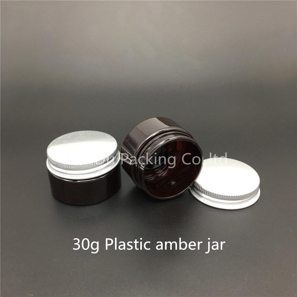 Wholesale 15pcs 30g PET Amber jar, 30 Gram Amber Plastic Cream Jar, 1 oz Jar For Child Safe, 30 ml Cosmetic Container