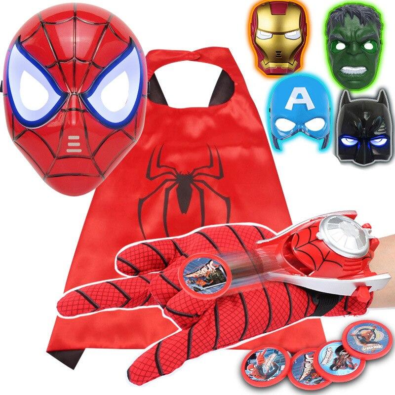 Фигурки Человека-паука Marvel, игрушка «мстители», Железный человек, Капитан Америка, Человек-паук, маска, перчатка Халка, плащ для косплея, Хэллоуина