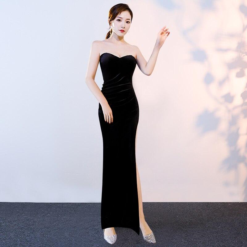 Длинное ручное сексуальное вельветовое вечернее платье для вечеринок|Платья