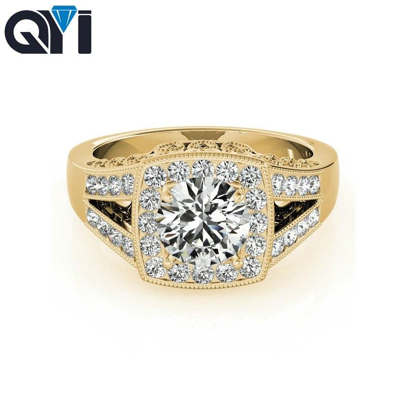 خاتم نسائي QYI 14k باللون الأصفر والذهبي المنفصل خاتم دائري مكون من 1.25 قيراط من الزركونيوم المكعّب على شكل هالو وخواتم الخطبة