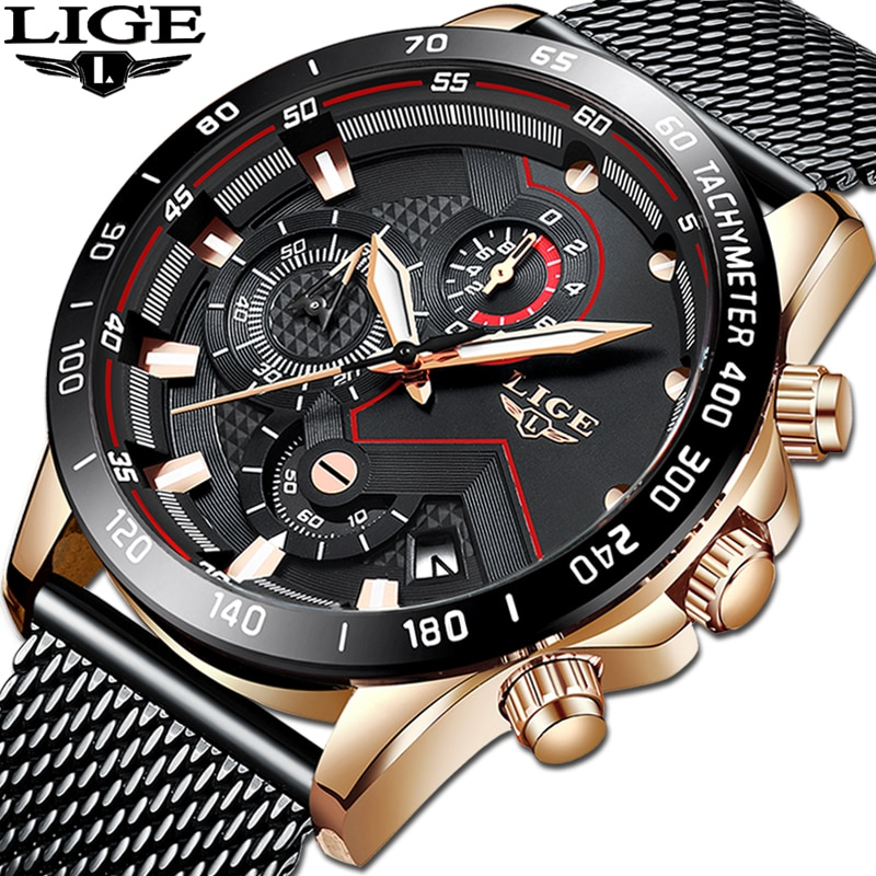 LIGE 2019 NEW Watch Men Top Brand Luxury Military Army Sports Casual Waterproof Mens Watches Quartz Stainless Steel Wristwatch lige new mens watches top brand luxury men s military sports watch men silicone waterproof clock analog quartz wristwatch box
