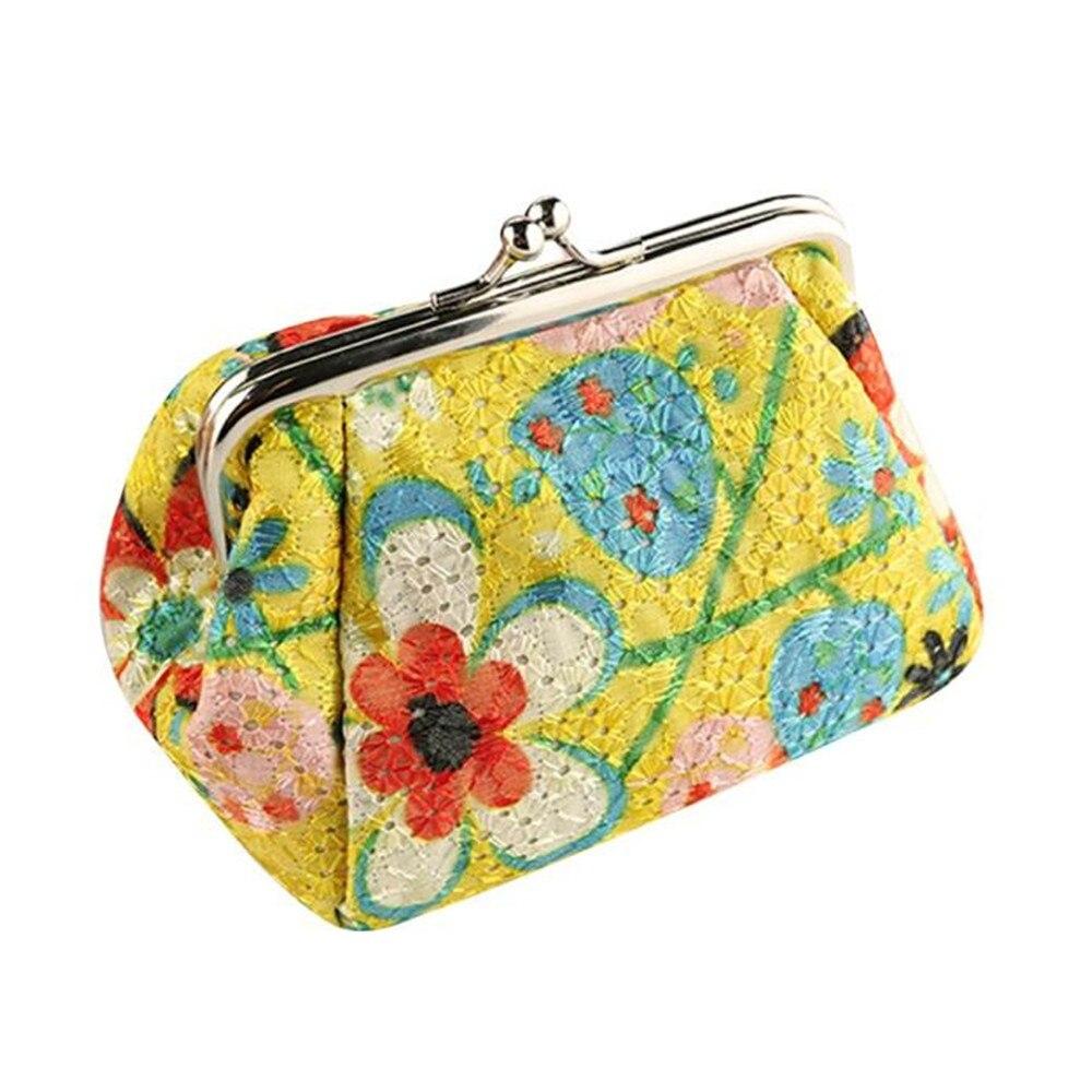Brieftasche Frauen Polyester Vintage Blume Bestickt Stoff Geldbörse Haspe Geldbörse Karte Halter Kupplung Beutel Leichte Handtasche Mädchen
