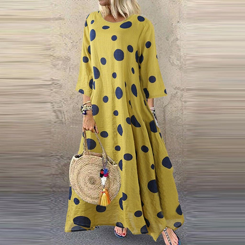 Women Plus Size Maxi Dress Casual O-Neck Long Sleeve Dots Loose Swing Party Long Dresses Elegant vestidos de festa 2020 M-5XL