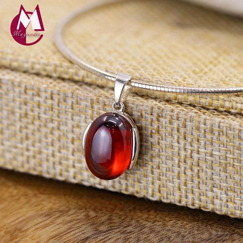 Простой красный гранат, подвеска из 100% серебра 925 пробы, женское украшение, натуральная Подвеска для ожерелья в виде камней, SP16