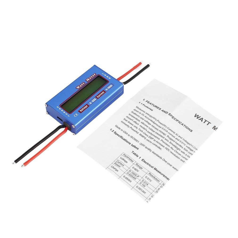 Medidor Digital de voltaje de equilibrio de 2019 vatios de potencia medidor de energía actual comprobador probador comprobador para batería de Dron RC 60V 100A Wattmeter ht