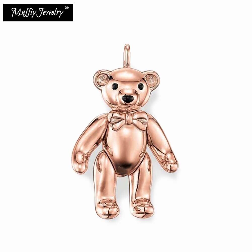 Colgante de oso de peluche Color oro puro rosa, alma de estilo Thomas, buena joyería de moda para mujeres, regalo Ts en Color oro puro