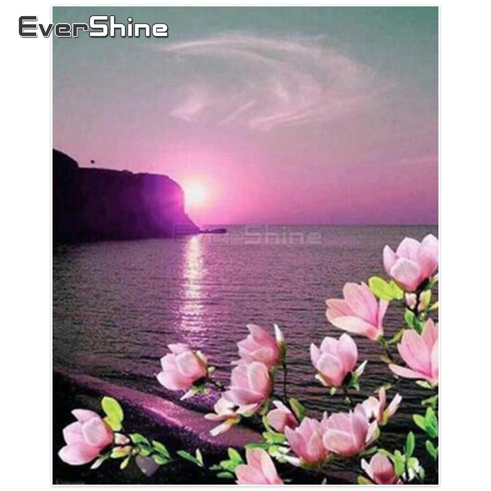 EverShine Diamant Mosaik Meer Volle Quadratmeter Diamant Stickerei Landschaft Diamant Malerei Bilder Von Strass Home Dekoration