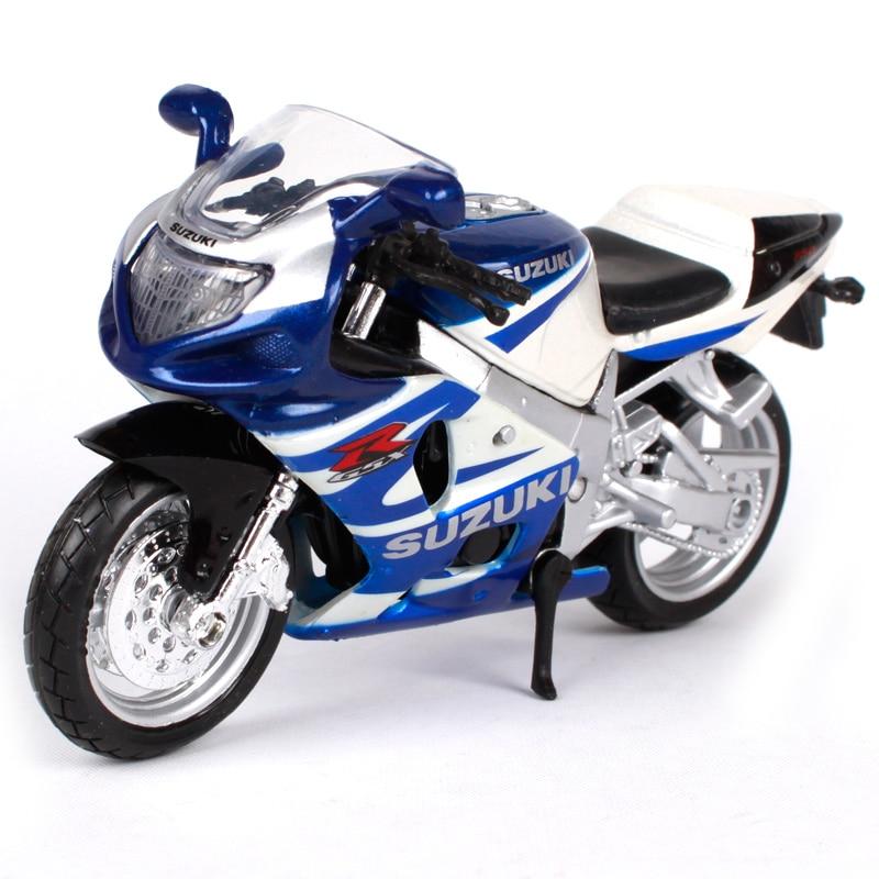Maisto 118 GSX R750 blanco azul motocicleta diecast para Suzuki 11,4X4,4X6,3 modelo de motocicleta regalo motocicleta para la recogida de 348