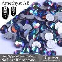 upriver high quality non hotfix loose rhinestones amethsyt ab nail art rhinestones glass beads