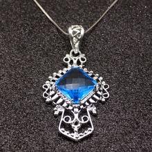Collier de chaîne pendentif couleur argent Sterling Topaz925 bleu brillant 20 pouces