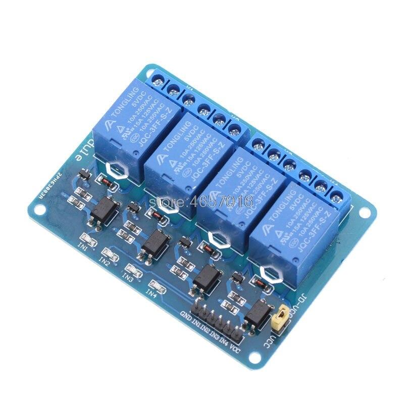 Módulo de relé de 4 canais placa de controle de relé de 4 canais com optoacoplador. Módulo de relé de saída de relé de 4 vias para ard uino em estoque