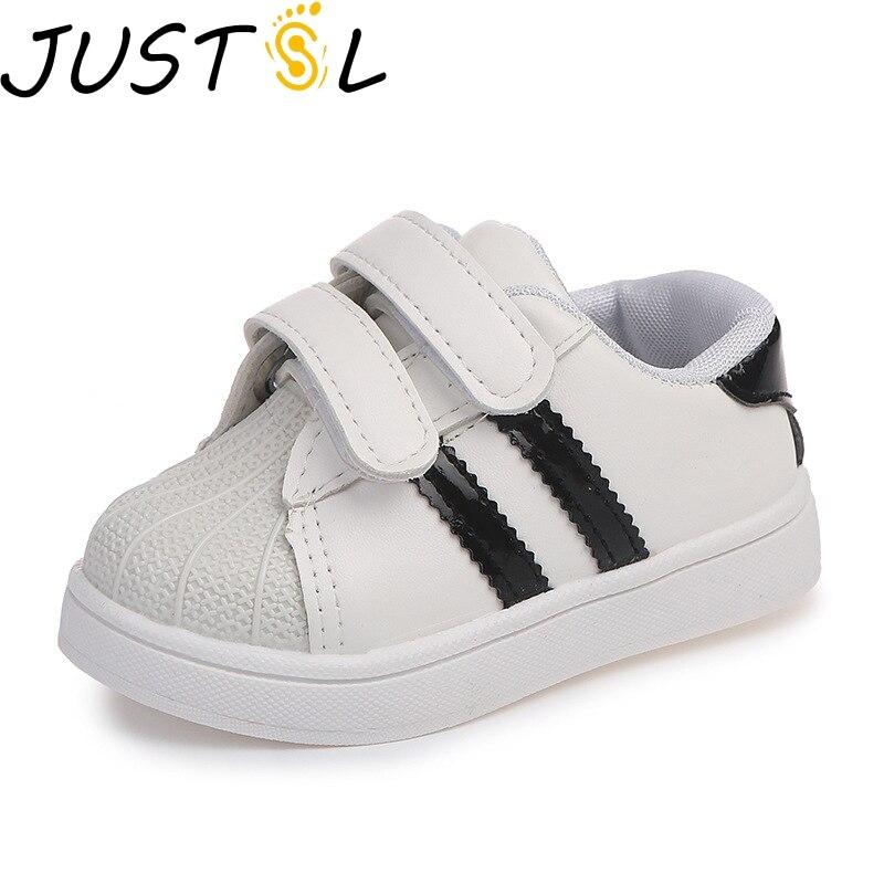 Justsl 2020 primavera verão tênis de moda das crianças novos meninos meninas sprt sapatos mariscos casuais sapatos brancos para crianças