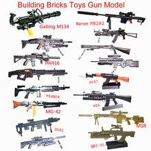 16 масштаб Игрушечная модель пистолета M134 MG42 AK47 98K винтовка Пазлы Строительные кирпичи сборочный пистолет Модель PUBG оружие для фигурки