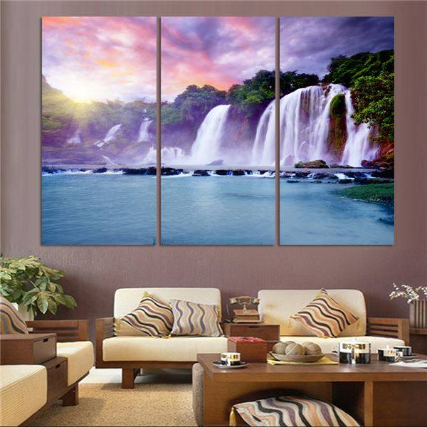 Luxry 3 Panel Waterfall Painting Canvas Wall Art Picture Home Decoration Living Room Canvas Print Painting--Large Canvas Art Unf