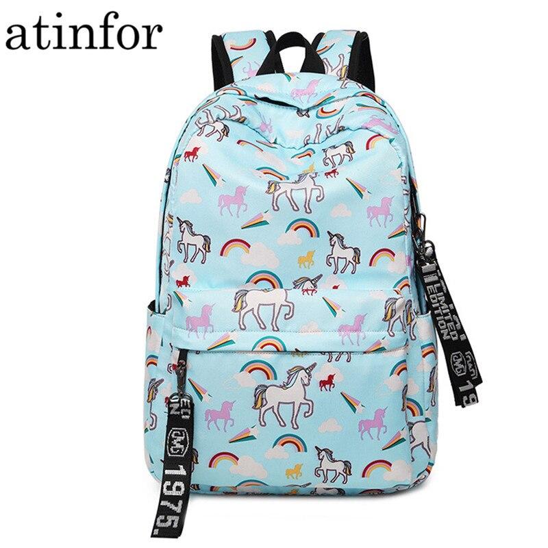 Mochila impermeable de nailon para mujer, mochila con estampado de flamencos, unicornio, mochila de viaje diario para ordenador portátil, mochila escolar bonita para colegio