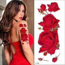 Couleur rouge Rose Tatoo fleur fleur nouvelle mode imperméable à leau temporaire tatouage autocollant tatoo filles tatto femmes faux henné