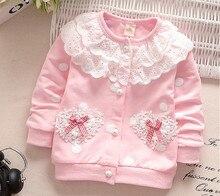 Baby Mädchen Mantel Neue Herbst Frühling Cardigan Tops Kinder Spitze Kragen Jacke Oberbekleidung Mantel Kinder Kleidung Neugeborenes Wear 0-2 jahre