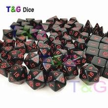 T & G haute qualité couleur unie noir X rouge points effet polyèdre numérique différents côtés D4/D6/D8/D10/D10 %/D12/D20 pour jeu de bureau