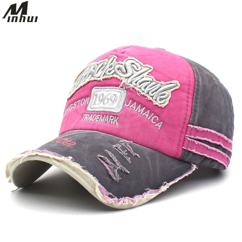 Minhui New Patch Vintage Snapback Hats for Women Cotton Summer Cap Letters Embroidery Casquette Men Baseball Caps