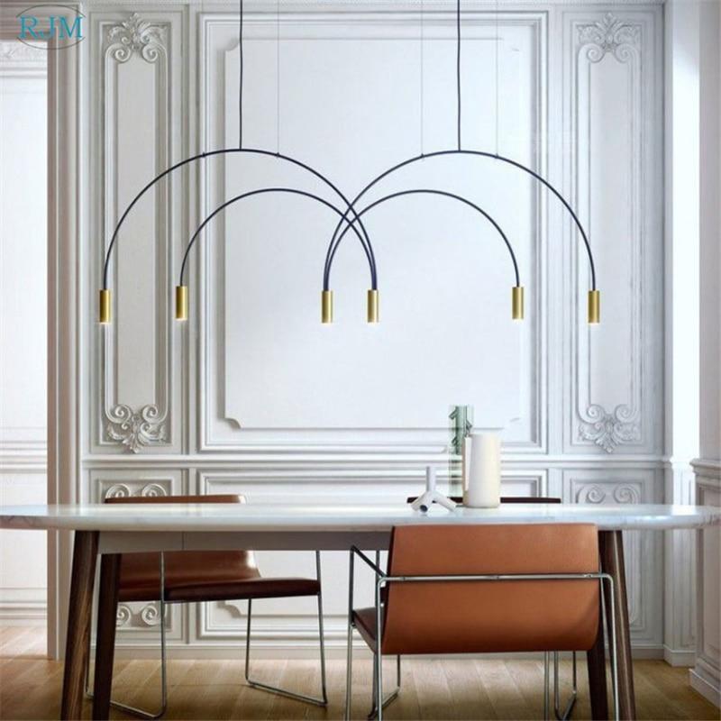Nordic Creative Personality Chandelier Designer Postmodern Arch Hang Lamps Restaurant Living Room Bedroom Cafe Study Lighting