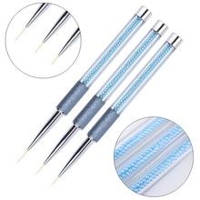 7/9/11mm Nail Art Metal Scrub Pearl Acrylic Line Painting Brush UV Gel Polish Tips Flower Drawing Design DIY Pen Manicure Tools