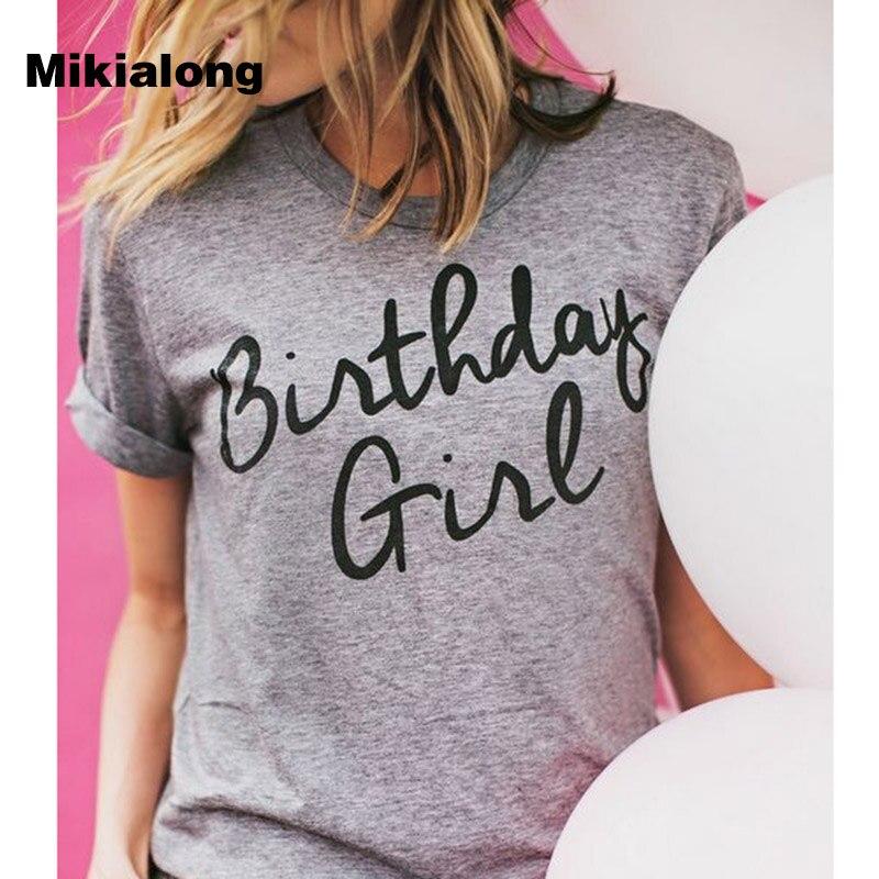 Camiseta de verano para mujer, Camiseta con estampado de cumpleaños, camiseta Casual con cuello redondo para mujer, camiseta de manga corta, camiseta femenina, envío directo