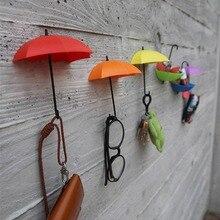 3 pièces/lot parapluie forme Clips mignon auto-adhésif mur porte clés Clips école bureau collant support fournitures pour la maison