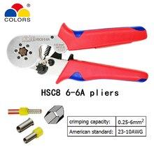 Alicates de engarzado HSC8 6-6A 0,25-6mm2 23-10AWG con 1020 700 Uds tipo de tubo tipo aguja terminal engarzado mini herramientas de alambre de presión