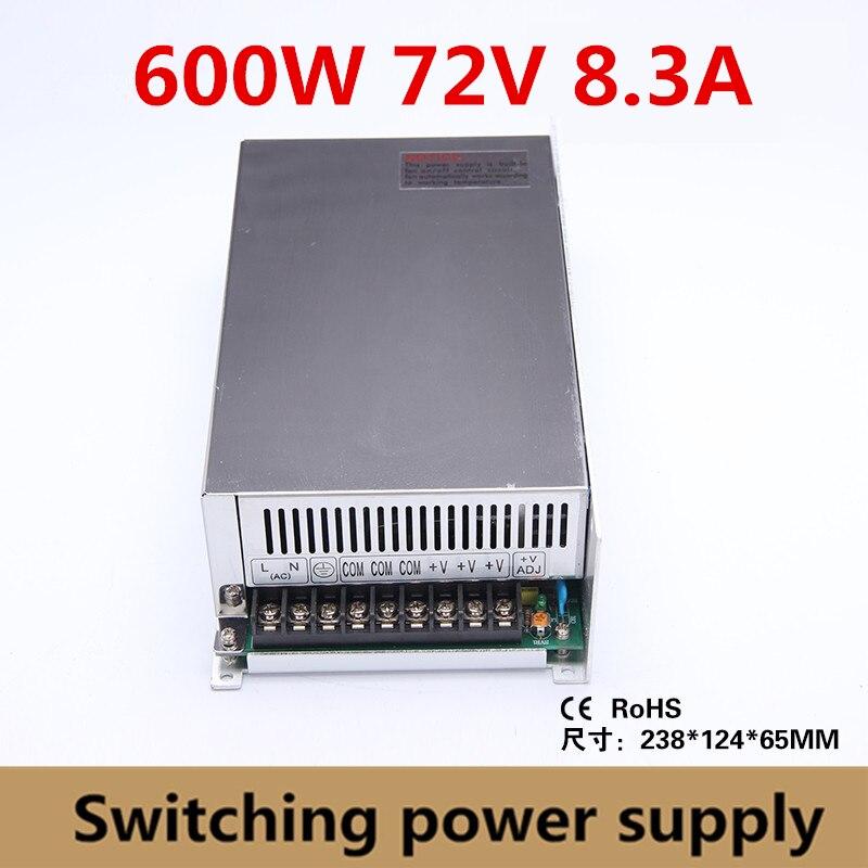 600W 72v 8.3A controlador del interruptor de la fuente de alimentación adaptador 72vdc transformador de voltaje para tira de luz Led, entrada de la industria 110 V/220 V