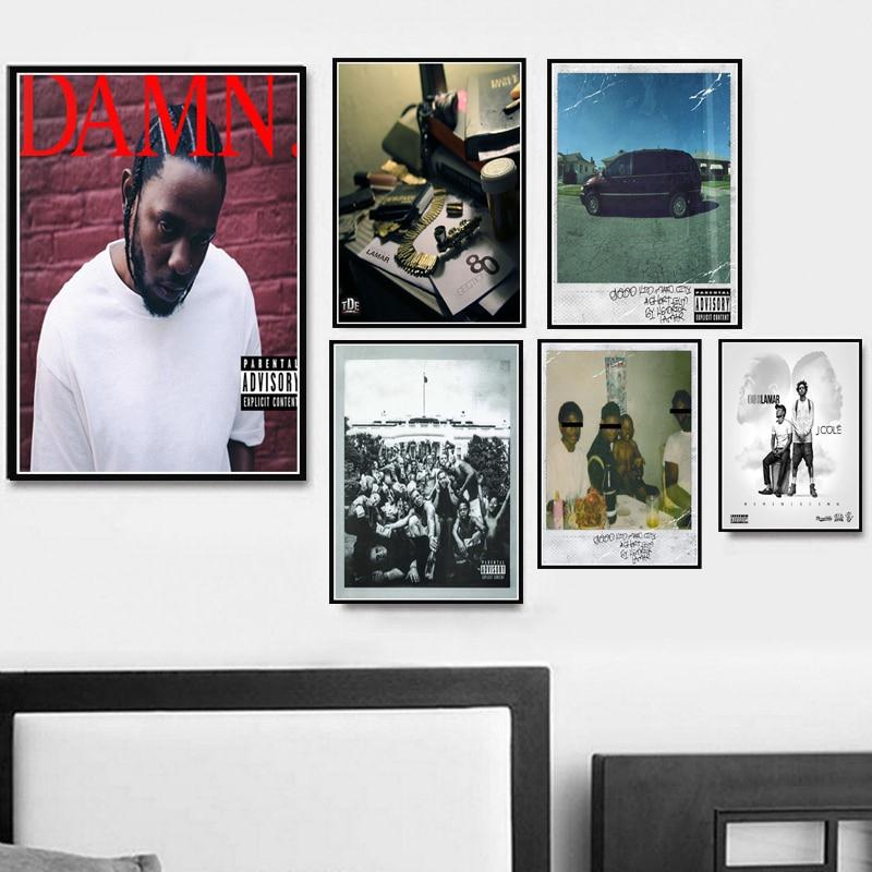 Poster Prints Hot Kendrick Lamar DAMN Hot Hip Hop Rap Music Album Art Canvas Oil Painting Wall Pictures Living Room Home Decor