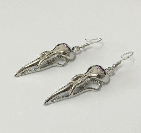 Regalrock bonito nórdico viking corvo longo crânio cabeça de corvo pássaro crânio amuleto rune masculino moda punk jóias brinco