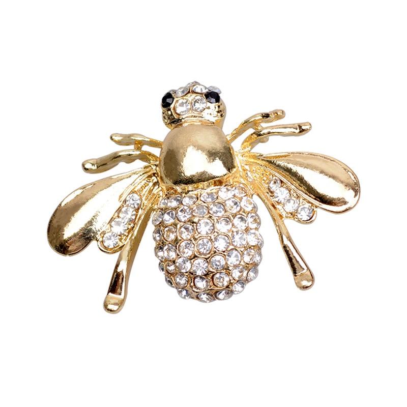 Hot New Exquisite Moda Rhinestone Animal Broche Lindo Liga Bee Broches Para As Mulheres Fine Jewelry Animal Little Bee Broches