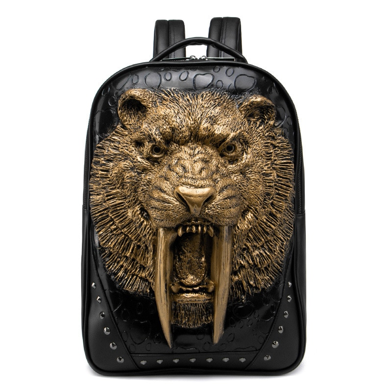 3D Animal Leather Backpack Fashion Men Cool Shoulder Bags for Teenage Girls PU Laptop School Rivets Halloween Accessory