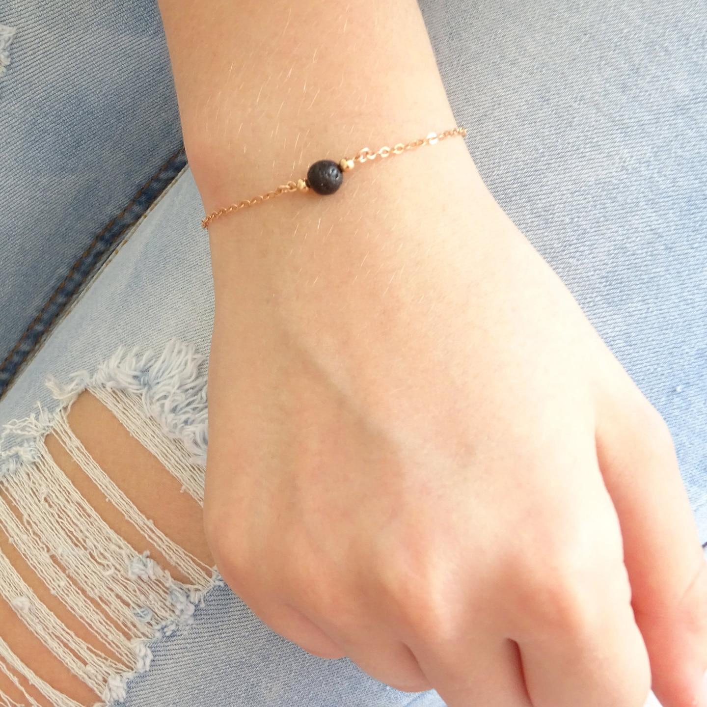 Gold/Silver Chain Black Lava Stone Bead Bracelet Aromatherapy Essential Oil Perfume Diffuser Jewelry Women Gift