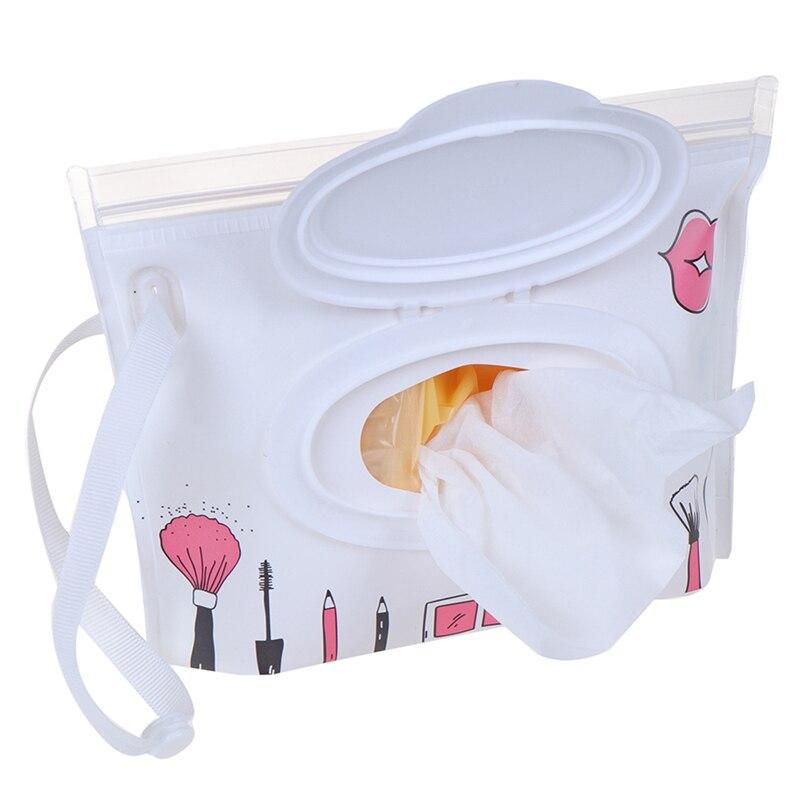 1pc nova moda toalhetes caso de transporte embreagem e limpar saco de toalhetes molhados para carrinho de criança bolsa de cosméticos com fácil-transportar snap-cinta