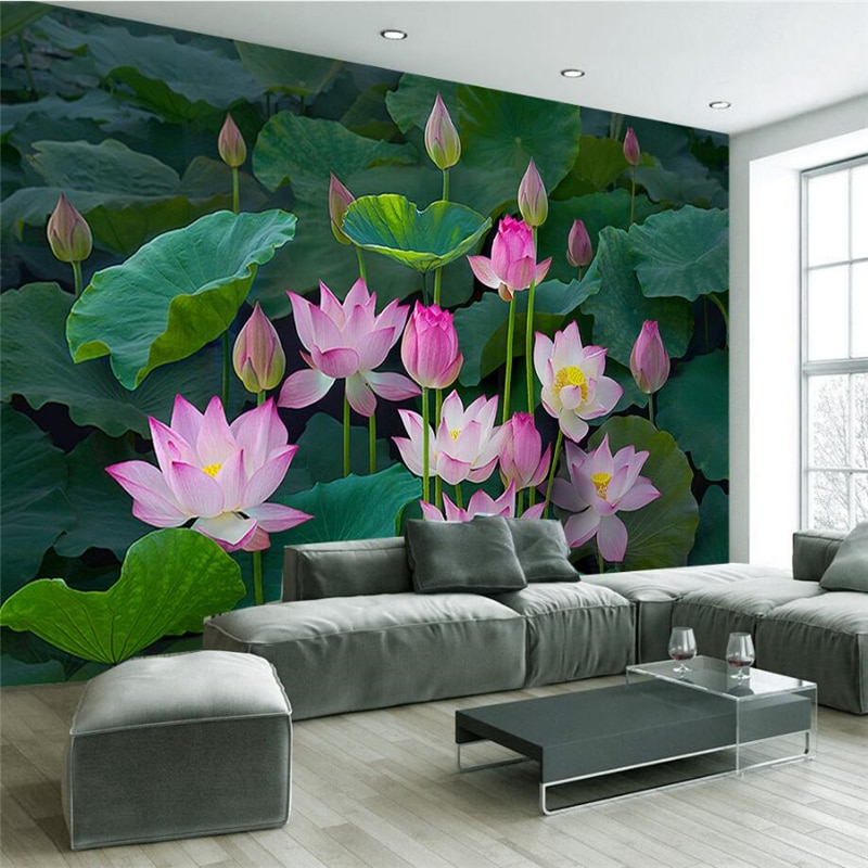 beibehang Custom Photo Wallpaper Mural Sticker Classical Lotus Lotus Pond New Chinese Style Living Room TV Wall papel de parede beibehang new papel de parede 3d wallpaper chinese style simple wallpaper relief dream watercolor lotus lotus background tapety
