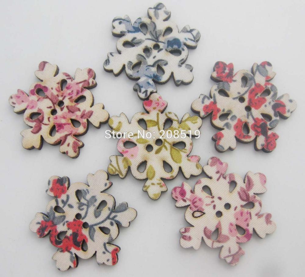 WBNLVE 30MM copo de nieve Navidad botones mezcla 100 Uds paño cubierto botón de madera scrapbooking y artesanía suministros de costura