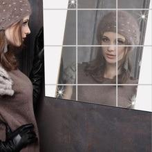 Miroir Stickers Muraux Dernière conception 0.1 MM carré miroir décoratif adhésif film peut être fixé à la paroi de nouvelle mode 7Z