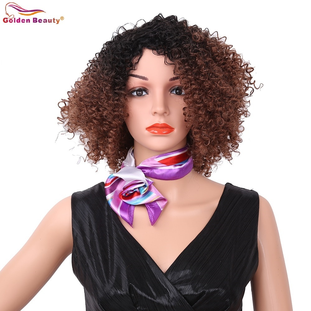 10-12inch Short Afro Kinky Curly Wig African American Style Natural Black Brown Synthetic Hair wigs for Women