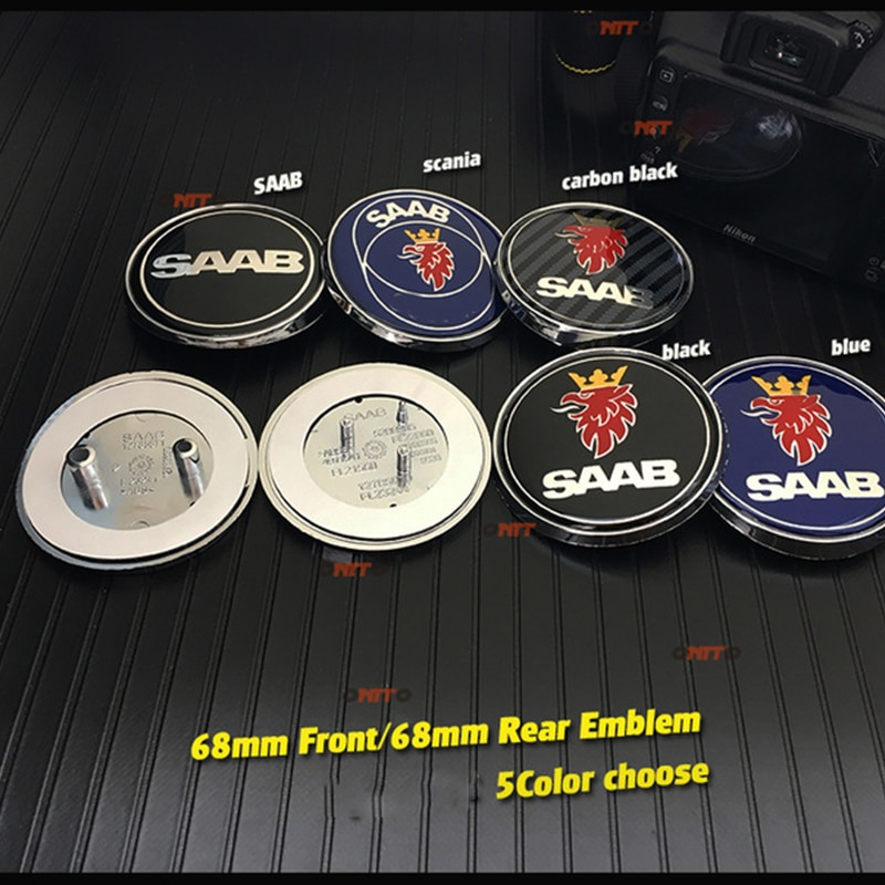 10 Uds 68mm frente del coche emblema posterior tronco placa para Saab de 68mm Bonnet/etiqueta de arranque de Saab 9-3 9-5 93 95 BJ SCS estilo de coche