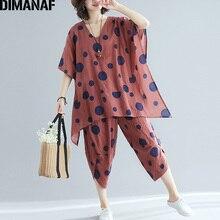 DIMANAF Plus Size Women Sets Summer Big Size Loose Female Set Suits Vintage Cotton Lady Tops Shirt Long Pants Print Polka Dot