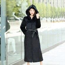 X-long 130 cm plus size M - 6XL natural rabbit fur coats outerwear women hooded real fur jackets 2018 new autumn winter