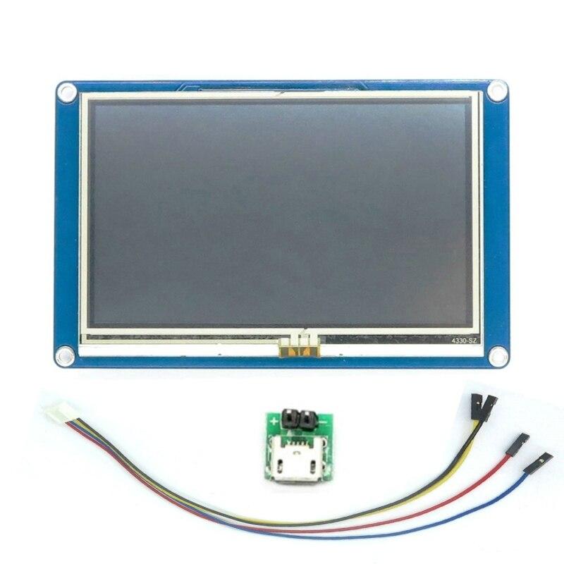"""Versión en inglés Nextion 4,3 """"TFT visualización pantalla táctil 480x272 HMI módulo LCD Panel táctil para Arduino Raspberry Pi A + B +"""