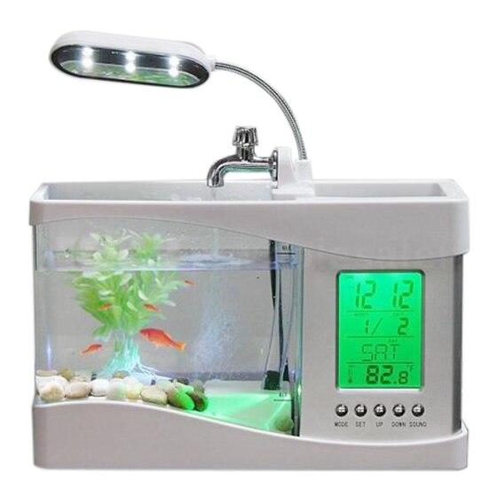 Acuario mejor hogar acuario pequeño acuario USB LCD lámpara de escritorio luz LED reloj blanco