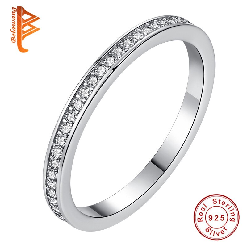 Belawang genuíno 100% 925 prata esterlina claro cz cristal redondo pave anéis de dedo noivado casamento luxo jóias presente