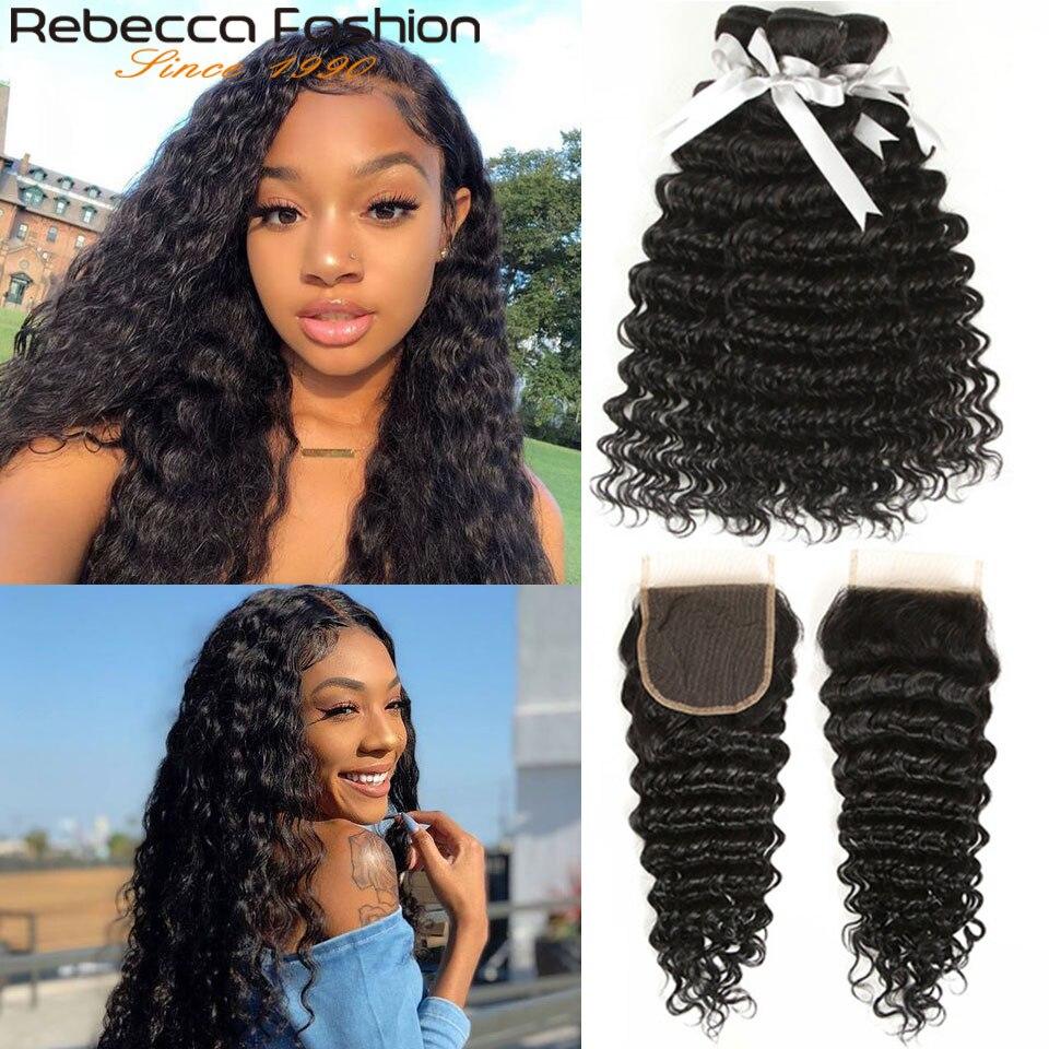 Rebecca Brazilian Deep Wave Bundles With Closure 3 4 Bundles With Closure Non Remy Human Hair 8 To 28 30 Inches Bundles